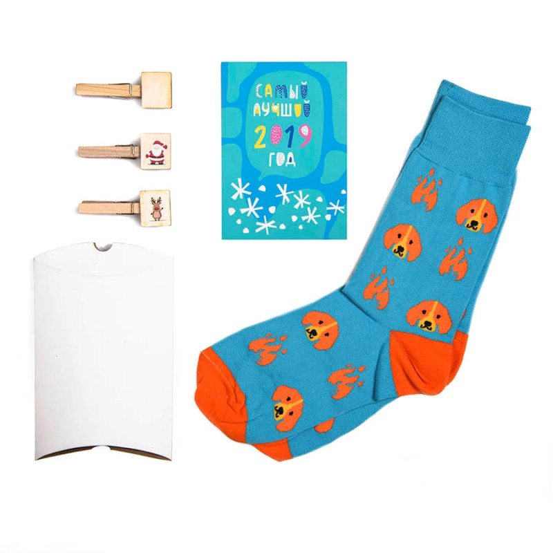 """Носки подарочные  """"Огненная собака"""" в упаковке, Бирюзовый, -, 25203 3"""