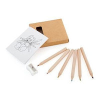 """Набор цветных карандашей с раскрасками и точилкой """"Figgy"""", 7,4х9х1,5см, дерево, картон, бумага, коричневый, ,"""