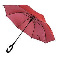 Зонт-трость HALRUM, пластиковая ручка, полуавтомат, Красный, -, 345706 08
