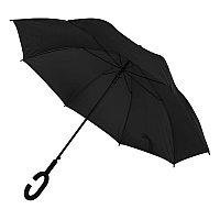 Зонт-трость HALRUM, пластиковая ручка, полуавтомат, Черный, -, 345706 35