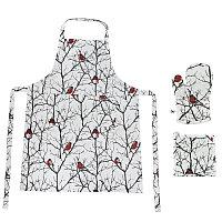 """Подарочный набор  для кухни  """"Снегири"""": передник и прихватки (2 шт), белый, красный, , 24401"""