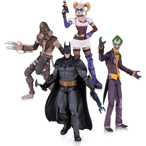 "DC Collectibles ""Batman Arkham Asylum"" - набор фигурок Джокер, Харли Квинн, Бэтмен, Пугало"