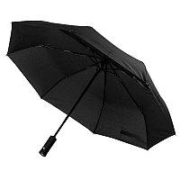 Зонт складной PRESTON с ручкой-фонариком, полуавтомат, черный, , 7441