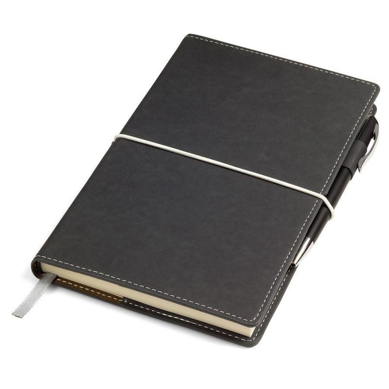 """Бизнес-блокнот """"BUSINESS"""", 140*220 мм, серый,  обложка портфолио,  блок-линейка, тиснение, Серый, -, 21207 30"""