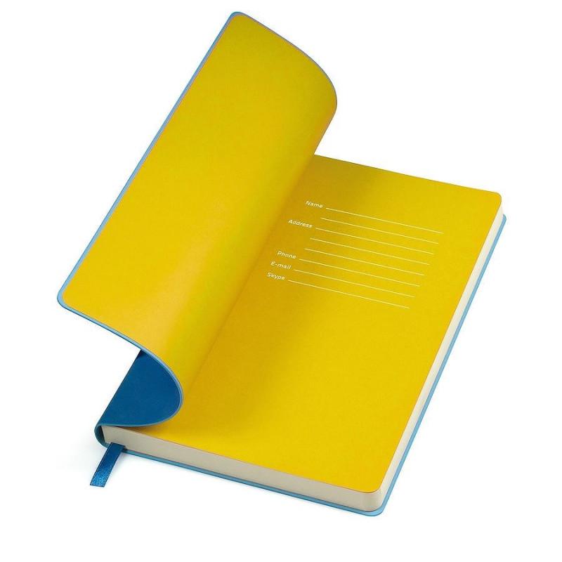 """Бизнес-блокнот  """"Funky"""" А5, голубой, желтый форзац, мягкая обложка,  в линейку, Голубой, -, 21209 22 03"""