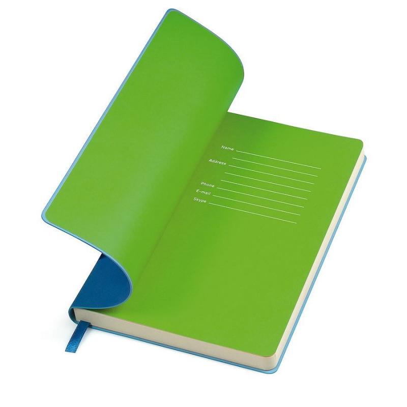 """Бизнес-блокнот """"Funky"""" А5, голубой,  зеленый форзац, мягкая обложка, в линейку, Голубой, -, 21209 22 15"""