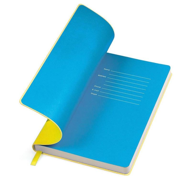 """Бизнес-блокнот """"Funky"""" A5,  желтый с голубым  форзацем, мягкая обложка, в линейку , Желтый, -, 21209 03 22"""
