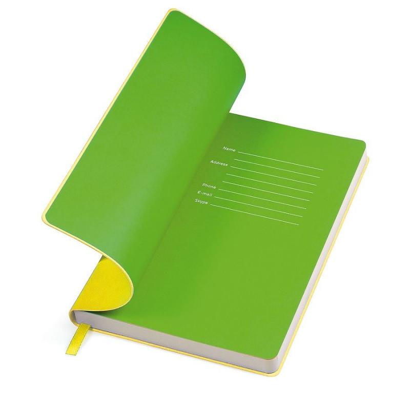 """Бизнес-блокнот """"Funky"""" A5, желтый с зеленым форзацем, мягкая обложка, в линейку, Желтый, -, 21209 03 15"""
