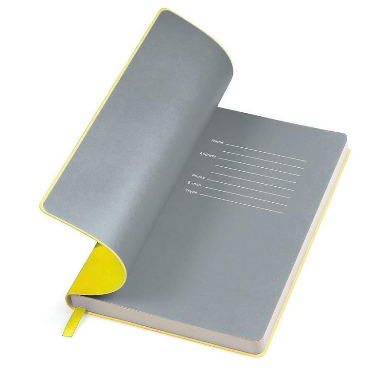 """Бизнес-блокнот """"Funky"""" A5,  желтый с серым  форзацем, мягкая обложка, в линейку , Желтый, -, 21209 03 30"""