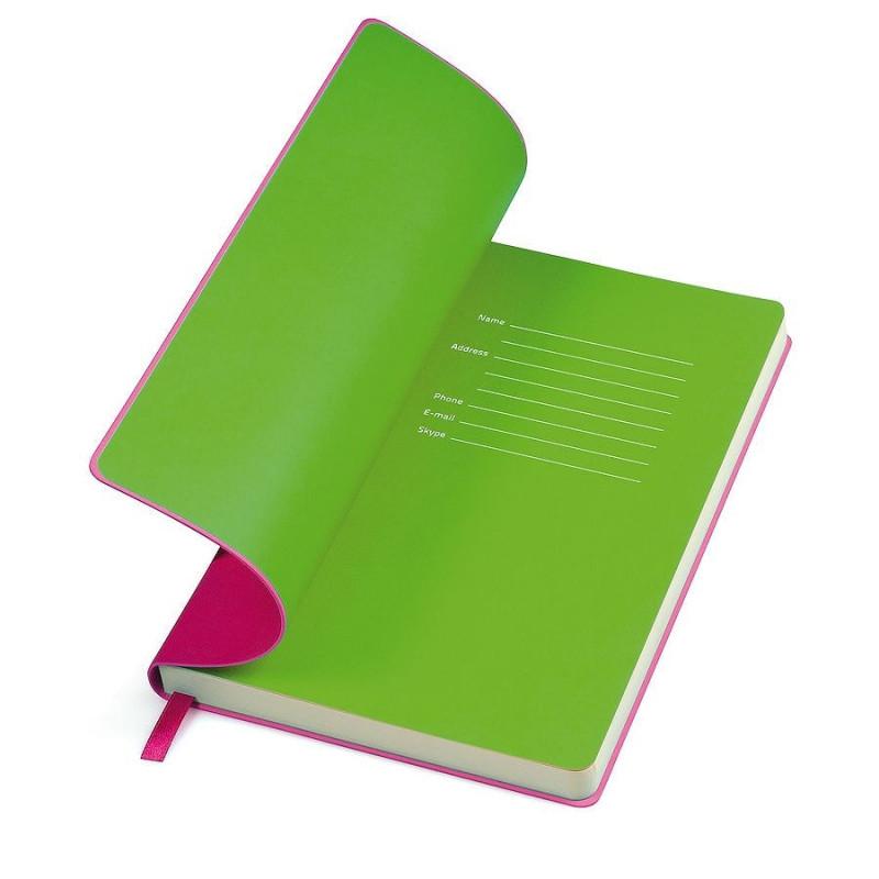 """Бизнес-блокнот """"Funky"""" А5,  розовый с  зеленым  форзацем, мягкая обложка, в линейку, Розовый, -, 21209 10 15"""