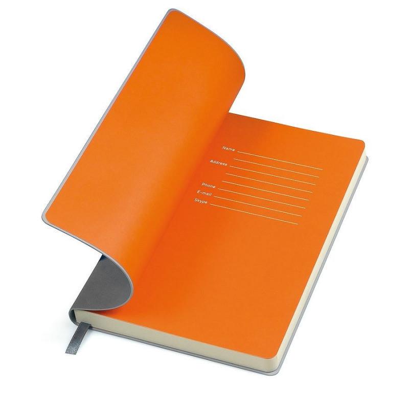 """Бизнес-блокнот  """"Funky"""" А5, с цветным  форзацем, мягкая обложка,  в линейку, Серый, -, 21209 30 06"""