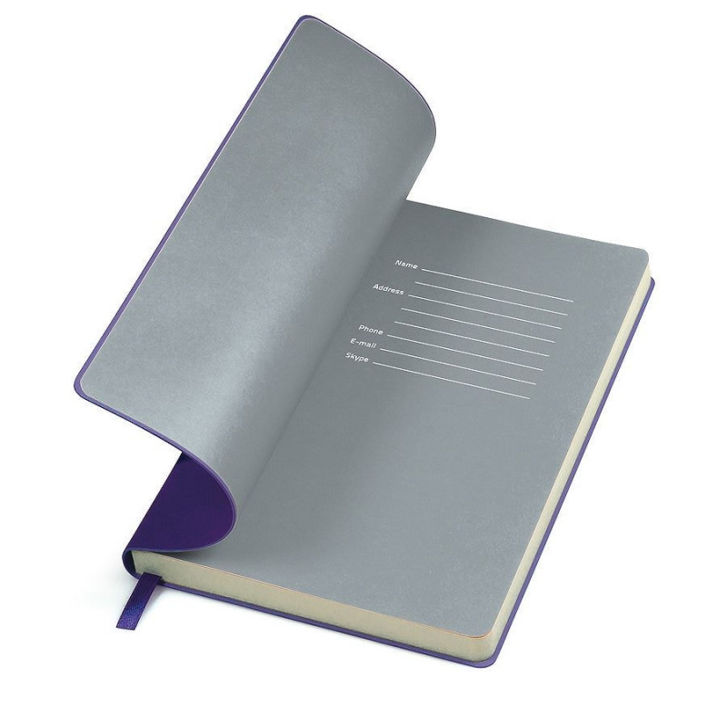 """Бизнес-блокнот """"Funky"""" А5, фиолетовый с  серым форзацем, мягкая обложка, в линейку, Фиолетовый, -, 21209 11 30"""