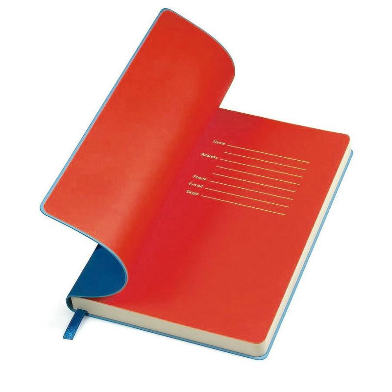 """Бизнес-блокнот """"Funky"""", 130*210 мм, синий, красный форзац, мягкая обложка, блок-линейка, Синий, -, 21209 24 08"""