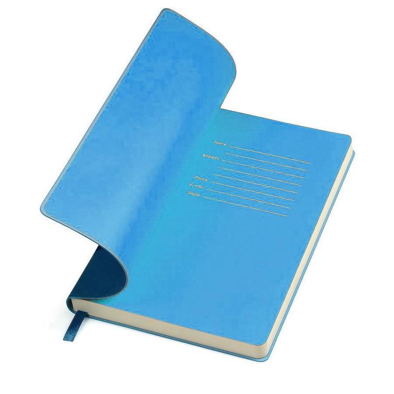 "Бизнес-блокнот ""Funky"", 130*210 мм, темно-синий, голубой форзац, мягкая обложка, в линейку, Темно-синий, -,"