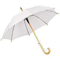 Зонт-трость с деревянной ручкой, полуавтомат, Белый, -, 7426 01