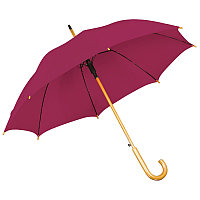 Зонт-трость с деревянной ручкой, полуавтомат, Бордовый, -, 7426 13