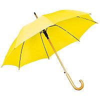 Зонт-трость с деревянной ручкой, полуавтомат, Желтый, -, 7426 03