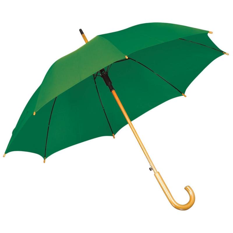 Зонт-трость с деревянной ручкой, полуавтомат, Зеленый, -, 7426 15