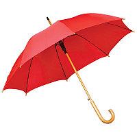 Зонт-трость с деревянной ручкой, полуавтомат, Красный, -, 7426 08