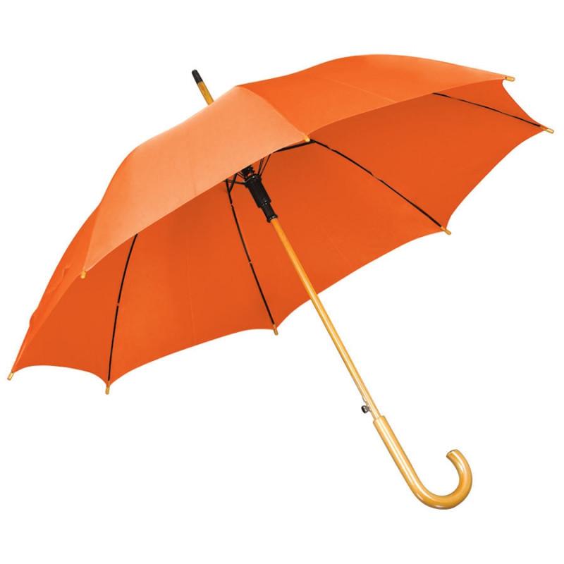 Зонт-трость с деревянной ручкой, полуавтомат, Оранжевый, -, 7426 05