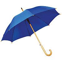 Зонт-трость с деревянной ручкой, полуавтомат, Синий, -, 7426 24