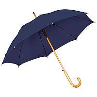 Зонт-трость с деревянной ручкой, полуавтомат, Синий, -, 7426 26
