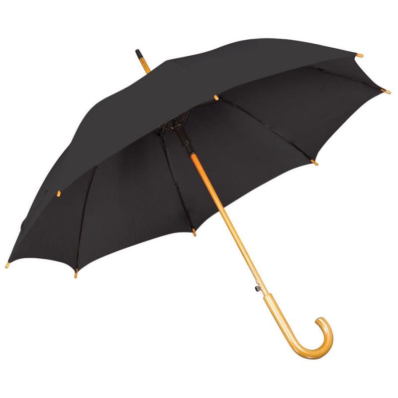 Зонт-трость с деревянной ручкой, полуавтомат, Черный, -, 7426 35