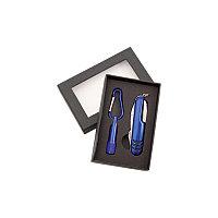 Набор Sufli: фонарик с 1 светодиодом, батарейка включена. Нож-мультиинструмент, 7 функций, синий, Синий, -,