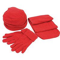 """Флисовый набор """"Метель"""" шапка, шарф, перчатки, Красный, -, 349365 08"""