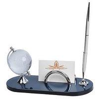 Набор настольный: подставка для визиток, глобус и авторучка, серебристый, темно-синий, , 13117