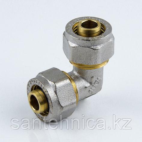 Угольник для металлопластиковой трубы Дн 26 обжим латунь никель ГОСТ 32415-2013, фото 2