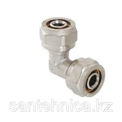 Угольник для металлопластиковой трубы Дн 32 обжим латунь никель ГОСТ 32415-2013 Valtec