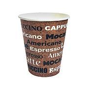 """Стакан д/хол./гор., 0.25л, верх. d 80мм нижн. d 56мм, h 92мм, 260+18г/м2, """"coffee"""", коричн., однослойный,"""