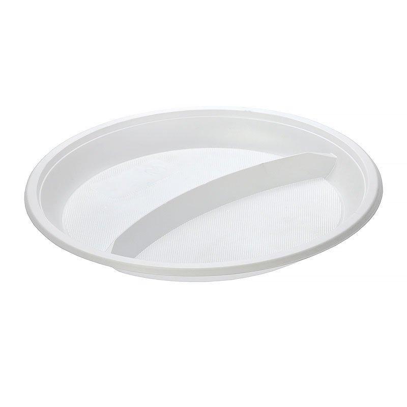 Тарелка 2-секции, d 210мм, белая, 1200 шт