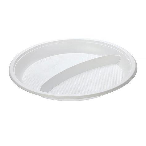 Тарелка 2-секции, d 210мм, белая, 1200 шт, фото 2
