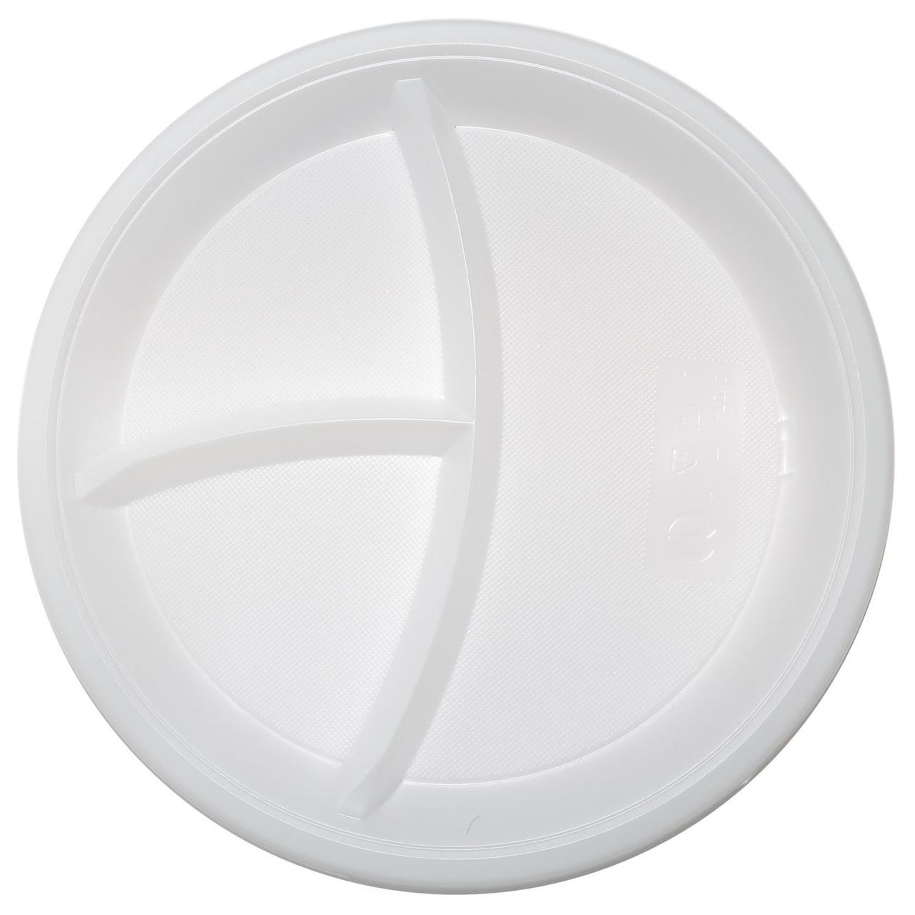Тарелка d 210мм, 3-секции, белая, 1200 шт