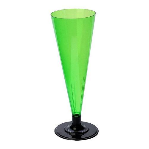Фужер для шампанского, 0.18л, зелёный, черная ножка, 396 шт