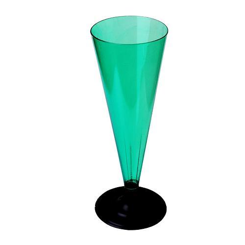 Фужер для шампанского, 0.18л, с черной ножкой, зелёная, 396 шт