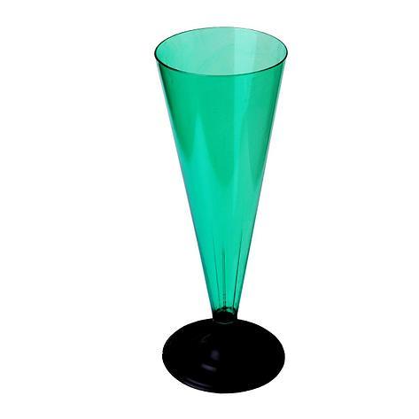 Фужер для шампанского, 0.18л, с черной ножкой, зелёная, 396 шт, фото 2