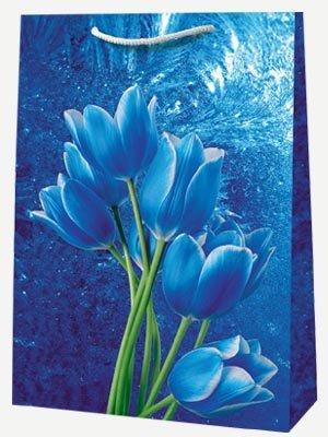 "Пакет ламин. 30х40х12см ""Синие цветы"", бум., 10 шт"