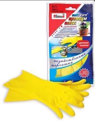 Перчатки  Multi Care рез. жёлт. (L) (каучук на хлопк основе), Премиум-класс, фото 2