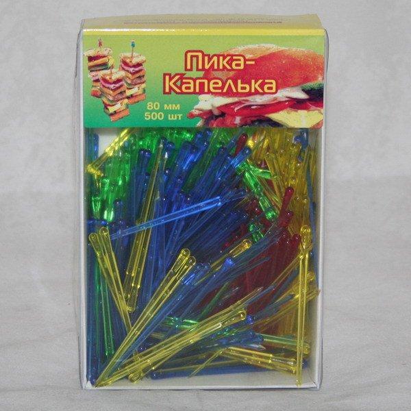 """Пика """"Булава""""  (капелька) 70 мм, цветн. ПС, 500 шт"""