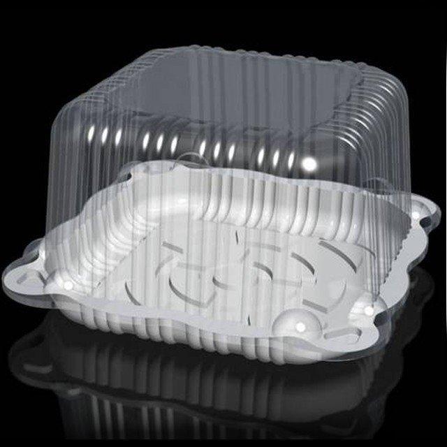 Упаковка квадр., торт. 6,0=(1,2х4,8)л, внешн. 250х250х150мм, внутр. 190х190х140мм, прозрачная, ОПС, 90 шт