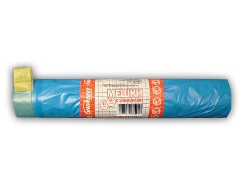 Мешок (пакет) д/мусора 60л 60х80см голубые с завяз. ПСД 10шт/рул.