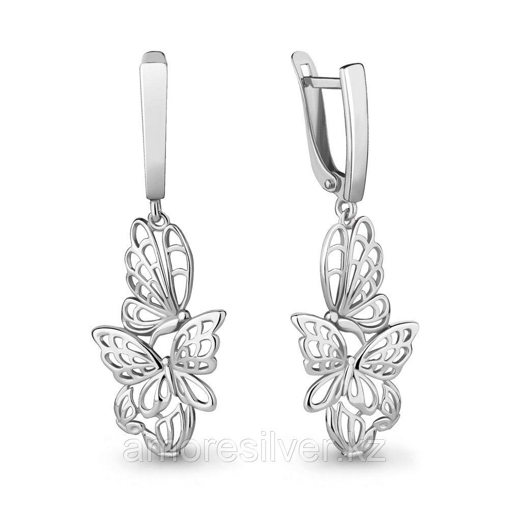 Серебряные серьги   Аквамарин 33653