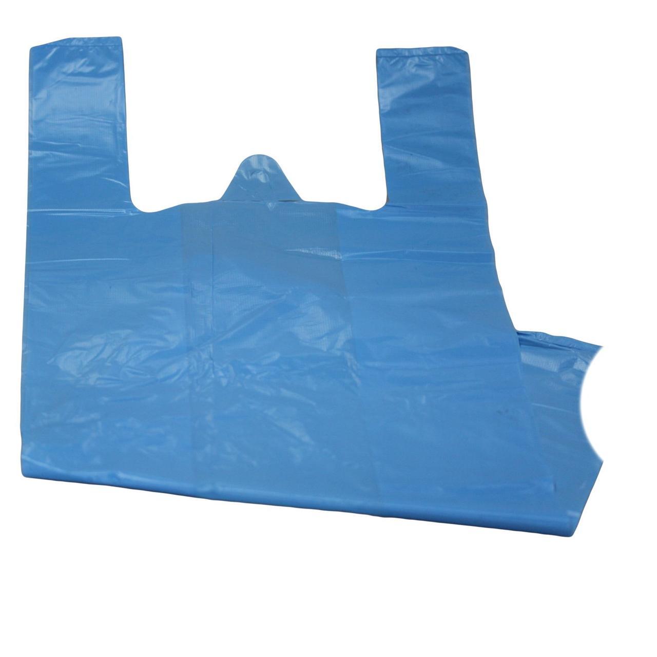 "Пакет ""майка"" 30+20х70см., 14мкм, голубой, ПНД, 100 шт"
