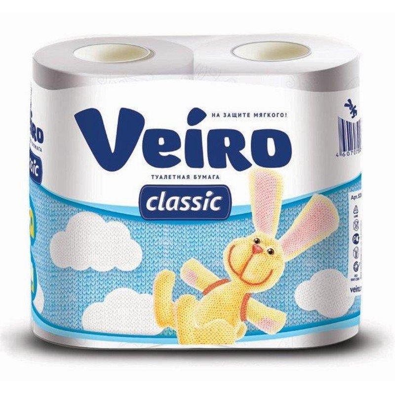 Бумага туалетная 2сл. 4шт. VEIRO Classic, Аромат: без аромата, бел.   , 4 шт