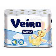 Бумага туалетная 2сл. 24шт. VEIRO Classic  , 24 шт