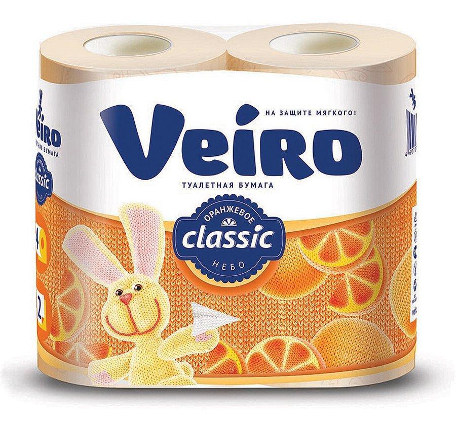 Бумага туалетная 2сл. 4шт. VEIRO Classic, Аромат: цитрус, белый с оранжевым тиснением , 4 шт