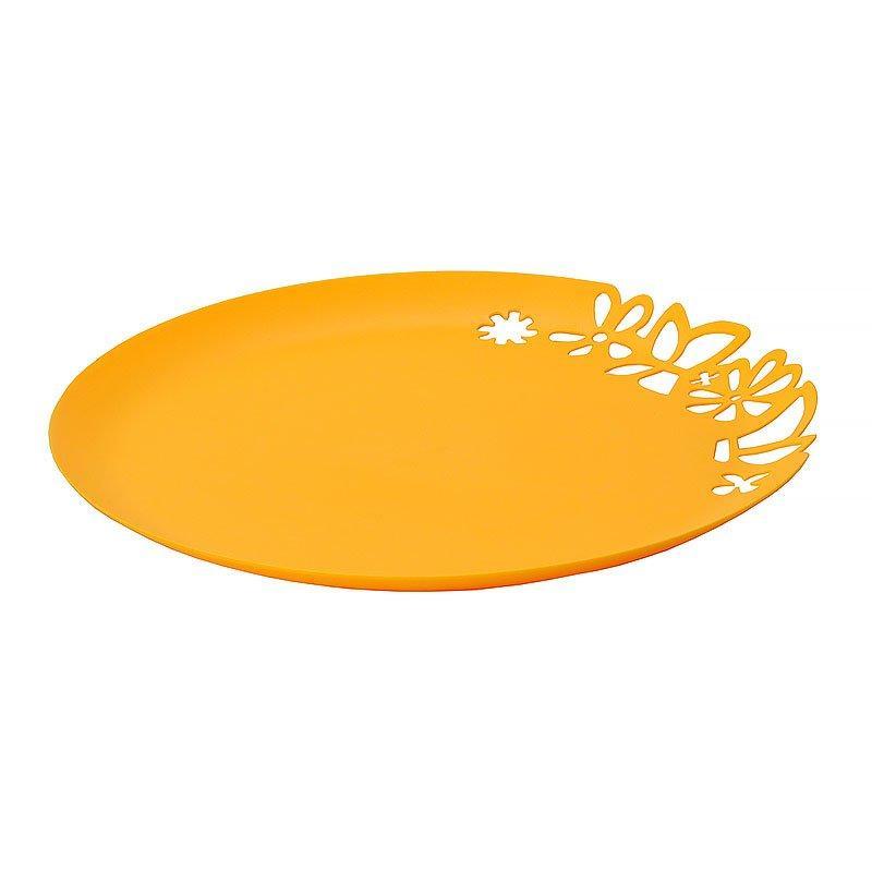 Блюдо с ажурным краем, желтое, 273 мм, 3 шт